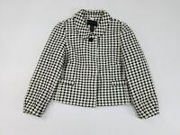 Women's Banana Republic Black White Tweed Knit Blazer Jacket Size 4