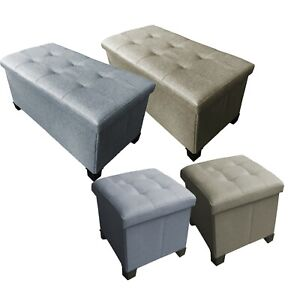 Linen Look Folding Storage Ottoman Bench Footrest withLegs/Feet Easy to Assemble