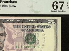 2013 $5 BILL 123456 LADDER REPEATING 12 SUPERB GEM FRN PAPER MONEY PMG 67 EPQ