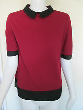 NEW LOOK - RED/BLACK  COLLARD SHORT SLEEVED BLOUSE Size 8 POLYESTER BLEND