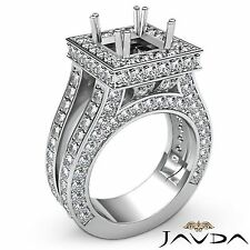 18k White Gold Diamond Engagement Princess 2.5Ct Semi Mount Halo Pave Set Ring