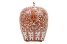 "Beautiful Orange And White Twisted Lotus Porcelain Ginger Jar 12"""