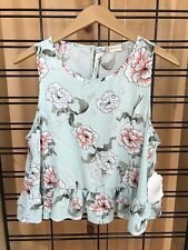 NEW Altar'd State Peplum Top Light Blue Floral Size Medium