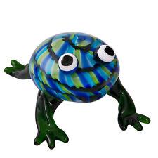 Glass Frog Figurine Approx 9cm High Blue, Green