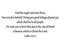 LUKE 2:10-11 unmounted rubber stamp, religious Christmas, KJV bible verse #24