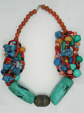 EXQUISITE ANTIQUE TIBETAN CORAL & HUGE TURQUOISE NECKLACE & AMULET 417 g