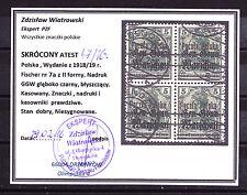 (PL) Poland Polen Polska Fi 7IIa block of four used certificate rare