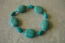 Macy's Turquoise Western Boho Cowgirl Chunky Stone Beads Stretch Bracelet