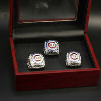 3Pcs Chicago Cubs Rizzo Bryant Zobrist Rings Display with Wooden Box Set