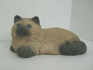 Sandcast sculpture of long haired Siamese blue eyes signed Sandra Brul handpaint