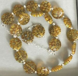 Sterling And Venetian Glass Beads Necklace Earring Set Amber Flowers Silver Bead