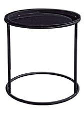 Beistelltisch mit abnehmbarem Tablett Schwarz 46 cm / Nachttisch Tisch / Metall