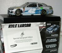 2018 KYLE LARSON #42 FIRST DATA FLASHCOAT SILVER AUTOGRAPHED 1/24 CAR#41/48 FCOA