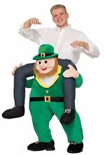 Funny Once Upon A Leprechaun Adult Ride Piggy Back Costume St Patricks Day Saint
