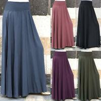 Women Elastic Waist Solid Pleated Skirt Vintage A-line Loose Long Skirt Swing P
