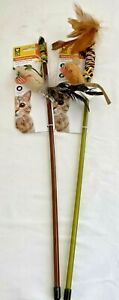 Lot of 2 Pet Zone Tethered Teaser Cat Wand Toy w/Feathers -Real Mouse Sound!