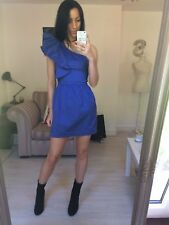 French Connection Blue One Shoulder Structured Ruffle Dress Size 10 / Small