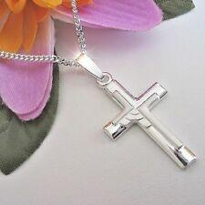 Kreuz Anhänger Echt Silber 925 mit Kette Collier Kinder Damen Herren Schmuck neu