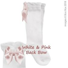 7059c63404bd8 Baby Girls   Girls Pex Knee High Satin Ribbon Bow Socks UK NB(EU15)