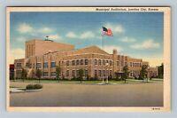 Junction City KS, Municipal Auditorium, Linen Kansas c1942 Postcard