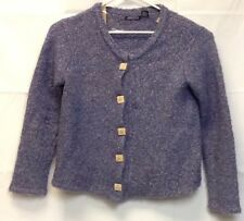 WIND RIVER Sweater Women's M/L Purple Cardigan Button Up Carved Buttons