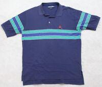 Ralph Lauren Polo Golf Shirt Blue Green White Short Sleeve Large Cotton Mens Man