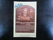 BOB FELLER AUTOGRAPH / SIGNED GOLD HALL OF FAME POSTCARD Cleveland Indians