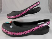 Crocs Youth Kids Slip On Rubber Ballet Flats Sz J6 Black with Patent Pink Strip