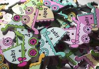 50 Pcs Wood Pattern Sewing Pram Buttons DIY, Scrapbooking, Cards, Frames