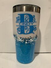 Dble insulated Stainless PERSONALIZED glittere tumbler Blue/white 30 oz W/LID SO