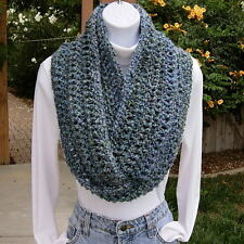INFINITY SCARF LOOP COWL Light Blue, Teal, Gray Grey Crochet Knit Circle Winter