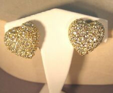 Vintage Joan Rivers Gold with Pave Crystal Heart Clip Earrings