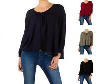 Taillenlange Langarm Damenblusen, - tops & -shirts ohne Muster