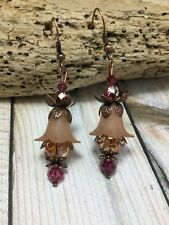Handmade Lucite Brown Flower Copper Plated Earrings W/Swarovski Elements USA