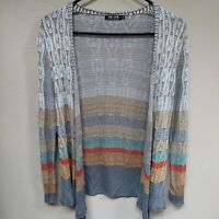 Nic+Zoe Womens Silk Rayon Waffle-Knit Open Front cardigan Sweater Petite Medium
