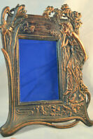 Vintage Art Nouveau Carved Wall Standing Mirror Copper Patina