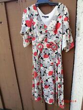 9f8c6c57b78 Vintage Betsey Johnson Silk Tea Dress Floral Cream Red Black Grey Print size