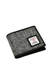 Mens Harris Tweed Trifold Wallet Purse Black/White Herringbone With Gift Box