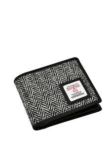 Men's Harris Tweed Trifold Wallet Purse Grey Herringbone