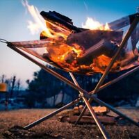 Foldable Stainless Steel Mesh Firewood Charcoal Stove Rack Fire Pit BBQ Camping