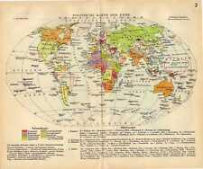 Antique map political politics world globe earth  1939