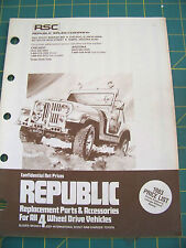 Republic Sales Company Price List for Replacement Parts & Accessories all 4WD