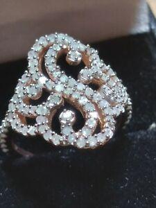 Genuine 1.1 carat Diamond 14K Rose Gold Over .925 Silver Engagement Wedding Ring