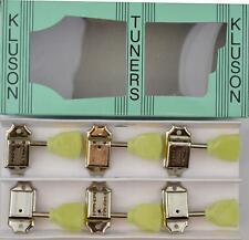 Kluson Vintage Tulip Tuners Machine heads 3x3 Nickel 10mm Bushes