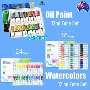 New Pack! MARIE'S 24/36 Color x 12ml Watercolours 24 Color Oil Paint Tube Set
