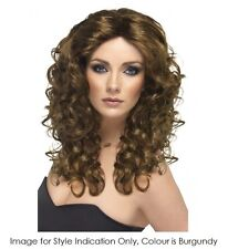 LONG CURLY BURGUNDY GLAMOUR WIG - MELBOURNE COSTUME ACCESSORIES