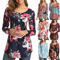 Women Casual Summer Floral Ladies Tops Blouse Loose  Long Sleeve Tunic T Shirt A