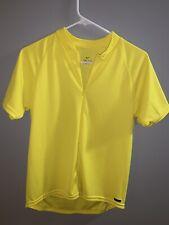 Nike Dri Fit Yellow Cycling Shirt Jersey Sz L 1/4 Zip Back Pockets