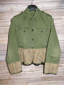 Harvey Faircloth M Army Green Jacket Brown Blue Wool Peplum Hem Military Button