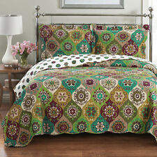 Bonnie Oversized Coverlet Wrinkle Free Set Luxury Microfiber Printed Easy  Care